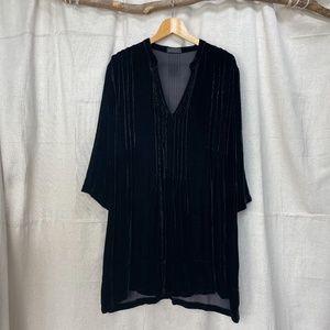 CP Shades Black Velvet Pintuck Tunic Shirt Dress